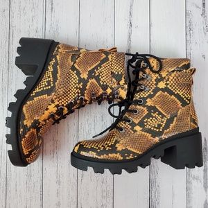 Madden Girl Dillan Snake Print Chunky Heel Boots